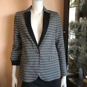 NWT Topshop Black White Gray Print Blazer Size 6